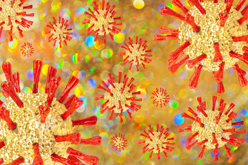 Golden Christmas coronaviruses on golden shiny background