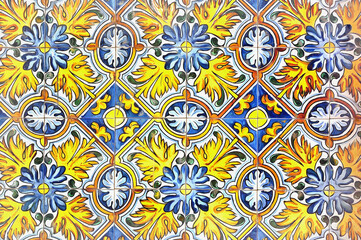 Beautiful oriental ceramic tiles close up view colorful painting looks like picture.