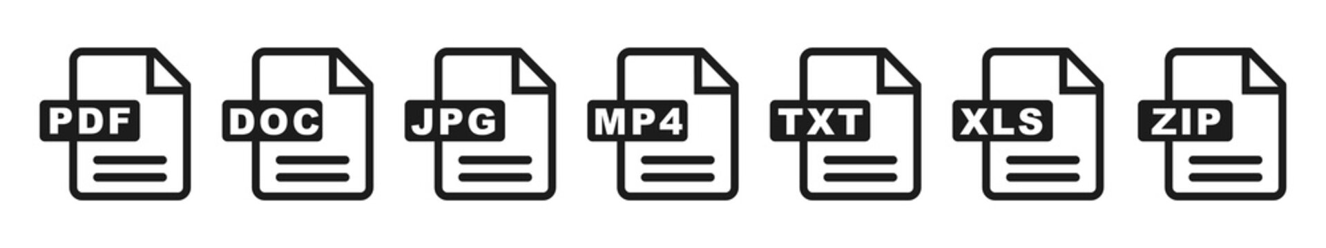 Symbol set file formats, file extensions diverse icons set isolated - for stock