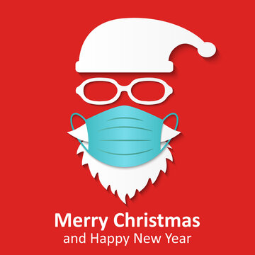 Santa Claus head label with medical mask and hat. Merry Christmas, Santa Claus logo design for coronavirus protection, Covid 19 prevention concept - stock vector