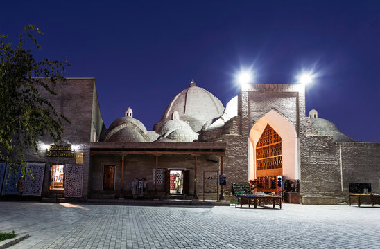 Toki Zargaron (dome of jewelers) is a traditional covered Bazaar in the historical center of Bukhara, Uzbekistan