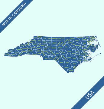 North Carolina counties map