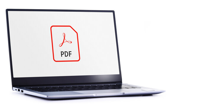 Laptop computer displaying logo of Adobe Acrobat file