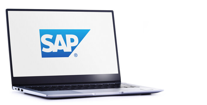 Laptop computer displaying logo of SAP
