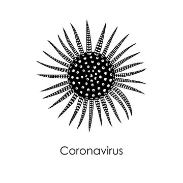 Novel coronavirus COVID-19 art drawing. Pathogenic organism with DNA or RNA in the middle. Infectious agent, flu contamination, air pollution, dust, airborne pollen allergen particles. Vector.