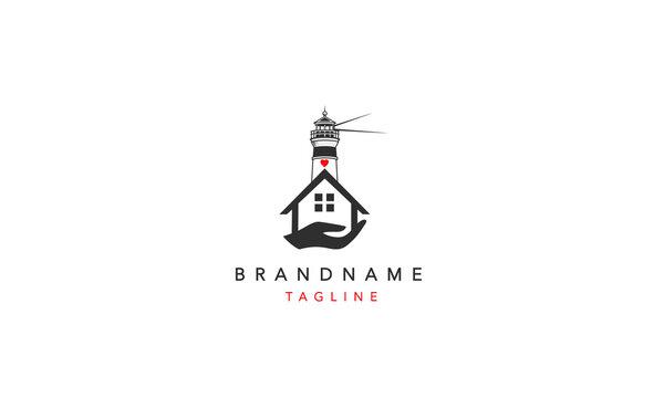 House care lighthouse Logo Design Template Vector Illustration