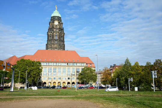 Dresden, Saxony, Germany - September 26, 2019: New Town Hall of Dresden, Germany