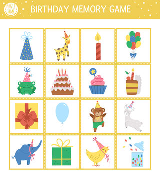 Vector Birthday memory game cards with traditional holiday symbols. Matching activity with funny characters. Remember and find correct card. Simple festive party printable worksheet for kids. .