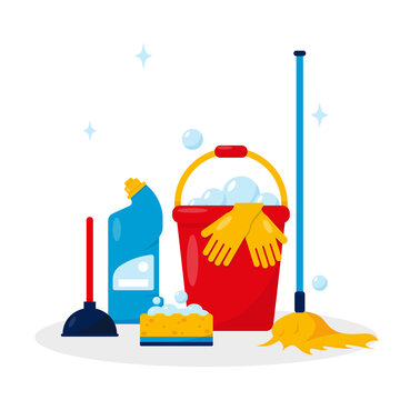 Housekeeping products and cleaning tools.