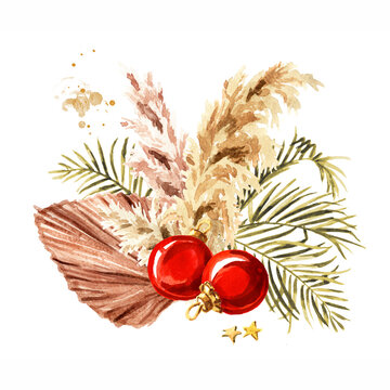 Christmas composition with pampas grass, dried palm leaf and ornaments. Watercolor hand drawn illustration isolated on white background