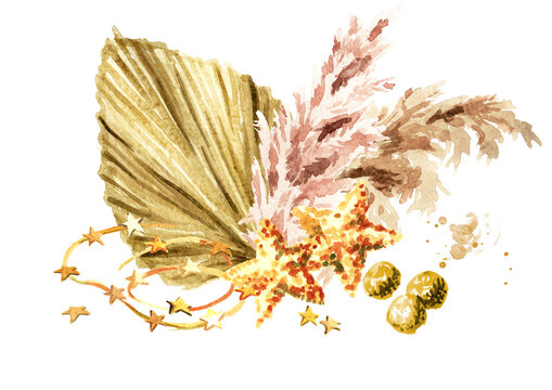 Christmas composition with pampas grass, dried palm leaf and ornaments. Watercolor hand drawn illustration