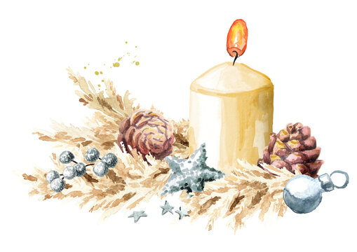 Christmas or Advent background with a burning candle decorated with pampas grass and ornaments. Watercolor hand drawn illustration
