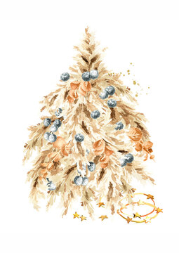 Christmas tree from a casual arrangement pampas grass. Watercolor hand drawn illustration isolated on white background