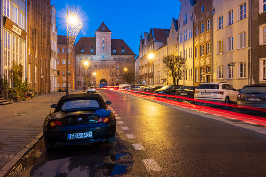 Gdansk, Poland - November 29, 2020: Szeroka Street in Old Town of Gdansk at night. Poland, Europe