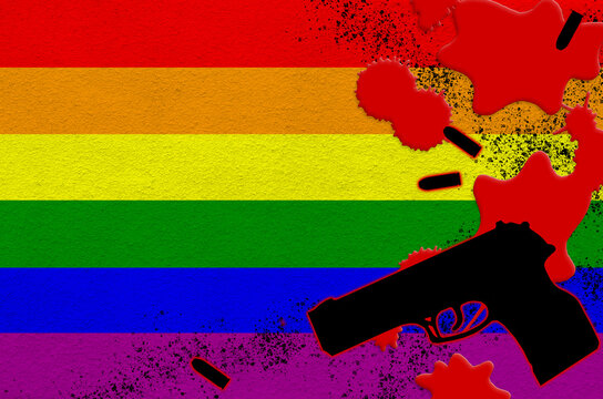 LGBT community flag and black firearm in red blood. Concept for terror attack or military operations with lethal outcome