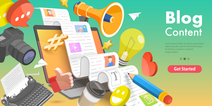 3D Vector Conceptual Illustration Creative Blogging, Commercial Blog Posting, Copywriting, Content Marketing Strategy.