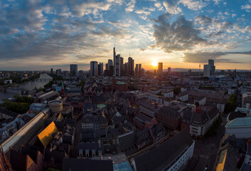 The city centre of Frankfurt am Main at sunset with the financial district in the background Wall mural