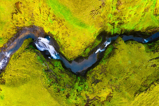 Iceland. View on river in canyon from drone. Landscape in Iceland at day time. Landscape from air. Travel image