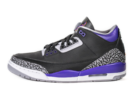 Air Jordan 3 Retro Court Purple - Legendary famous Nike and Jordan Brand retro basketball sneakers or sport shoes, now fashion and lifestyle shoes : Moscow, Russia - November 2020.