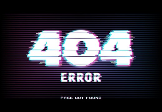 404 error, page not found in glitch effect style with vector distorted horizontal glitched lines and neon glowing typography on dark background. Website under maintenance, lost internet connection