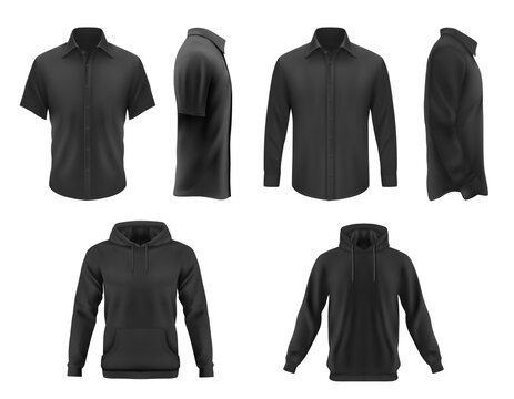 Men clothes vector black tshirt, hoodie and shirt with long and short sleeves apparel mockup. Realistic 3d male garment and underwear template. Blank clothing design, outfit isolated objects set
