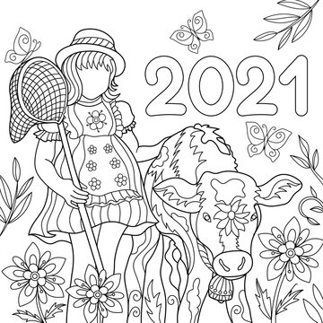 Cute little girl with butterfly net and calf kid interacting coloring page for children. Background 2021.