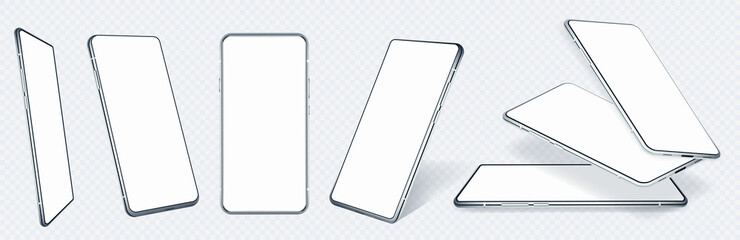 Fototapeta Realistic mobile phone mockups in different angles and white blank screen. 3D mockups frontal, isometric, perspective and rotated position. UI,UX smartphones template. Isolated cell phone, vector set obraz