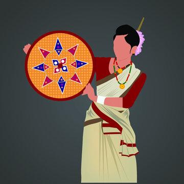 Assam woman with traditional dress beautiful vector graphic art, bihu dance girl Assam,