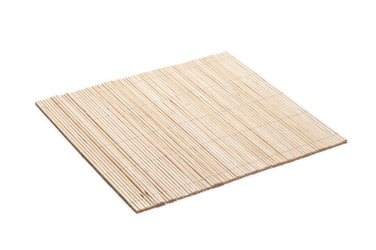 Bamboo mat isolated on white background.