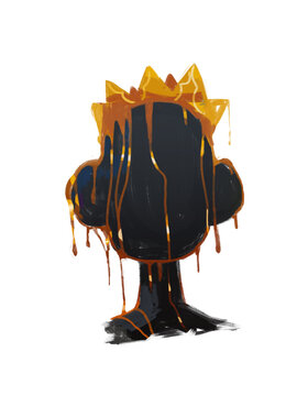 Black Graffiti Faceless Portrait with melting Crown. Modern Street art style and abstract. Expressionism and basquiat vibe Art Painting for print, poster and shirt.