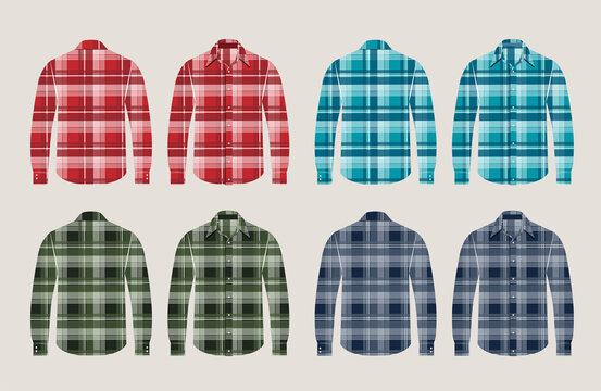 Vector plaid shirts patterned front and back view design