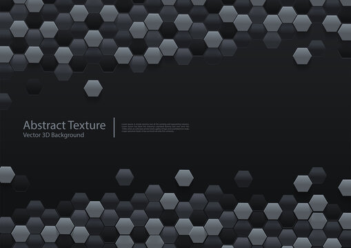 Vector Abstract black hexagonal background 3d illustration design