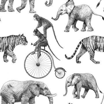 Beautiful stock seamless pattern with cute hand drawn safari giraffe elephant tiger monkey rhinoanimal pencil illustrations.