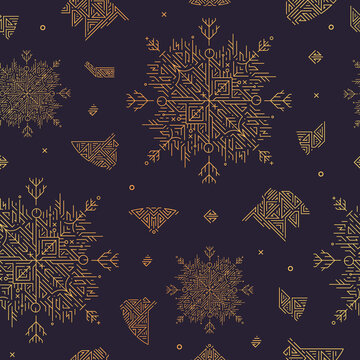 Vector abstract snowflake artdeco seamless pattern, christmas golden background. New yea
