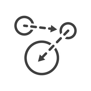 A minimalistic icon of moving from one point to another. An image of three spheres and arrows between them from one to the other. Isolated vector on white background.
