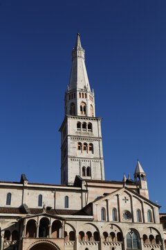 Ghirlandina historical tower with cathedral detail, Modena, Italy, Unesco world heritage