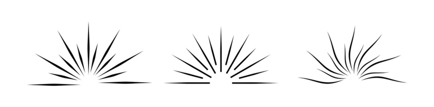 Sunburst set isolated on white background. Sunburst black color Flat style - stock vector.