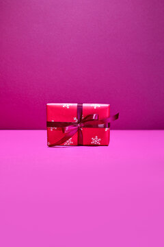 Christmas present or gift box front view