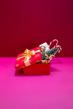 Christmas or New year present box surprise concept