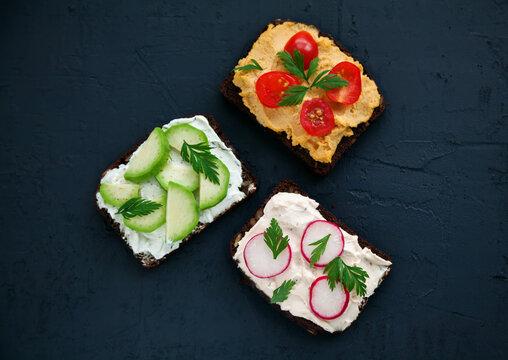 Top view healthy vegetarian rye bread toasts