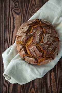 top view rye circle bread