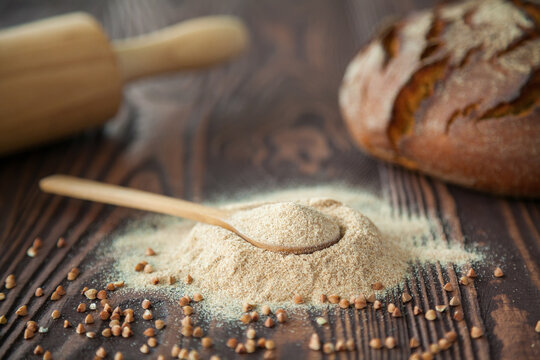 Close-up spoon with buckwheat flour
