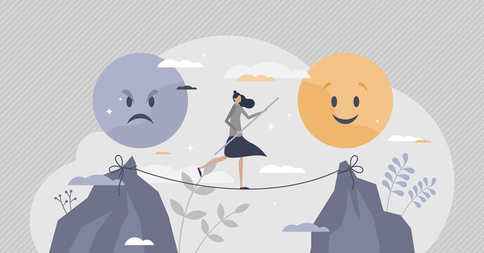 Emotional balance as choice good feeling over bad mood tiny person concept