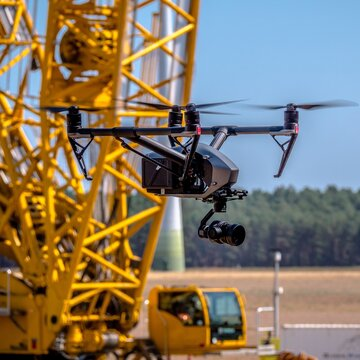 drone flies for inspection on a construction site