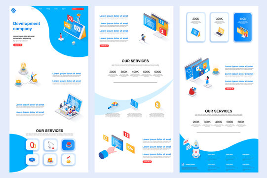 Development company isometric landing page. Software engineering, development corporate website design template. Web banner template with header, middle content, footer. Isometry vector illustration.