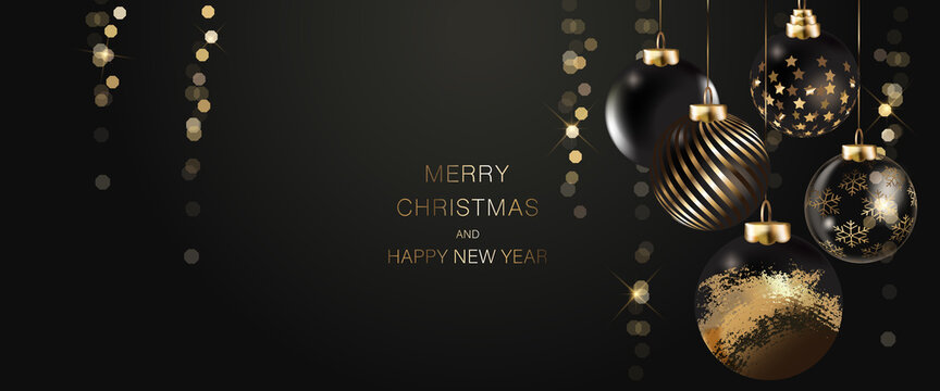 black luxury Happy season greeting and new year vector background with Christmas ball deco element