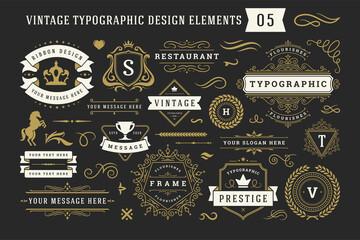 Vintage typographic decorative ornament design elements set vector illustration Fototapete