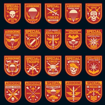 Military and army patches of special operation, air and airborne forces. Vector icons of skull, shield, airplane and parachute, rank, star and arrow, sword, wing, weapon and aircraft