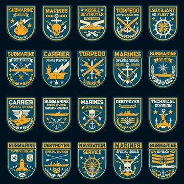 Navy or naval force vector patches and badges. Nautical anchor, submarine, military ship and helm, sword, skull and battleship, torpedo, strike missile and compass wind rose isolated insignias