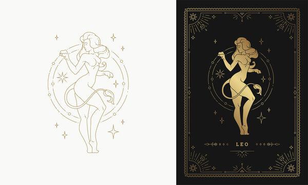 Zodiac leo girl character horoscope sign line art silhouette design vector illustration